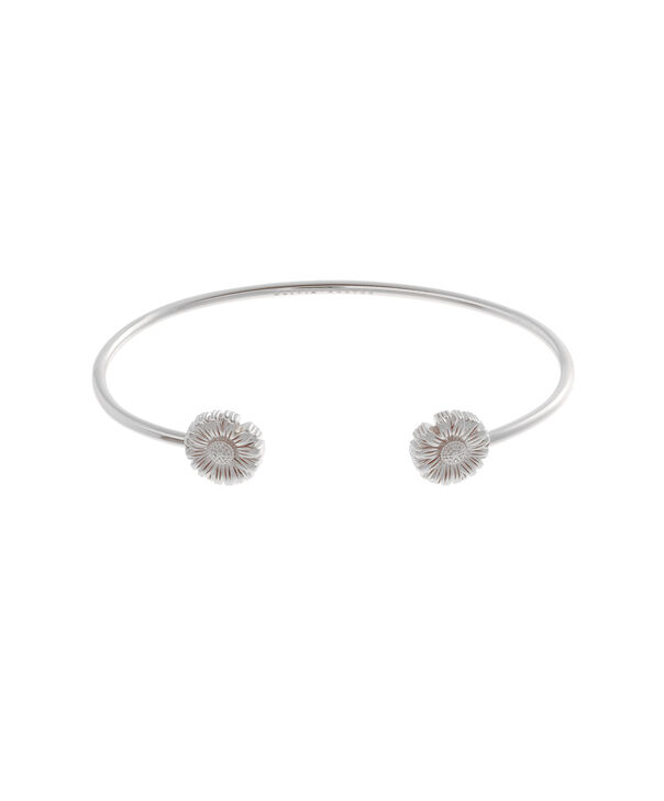 OLIVIA BURTON LONDON  Daisy Open Ended Bangle Silver OBJ16DAB05 – 3D Daisy Bangle - Front view