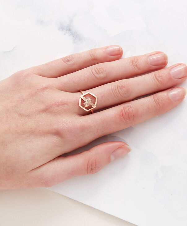 OLIVIA BURTON LONDON  Honeycomb Bee Ring Rose Gold OBJ16AMR06 – Honeycomb Bee Ring - Other view