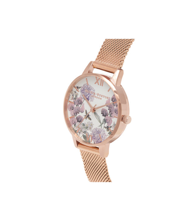 OLIVIA BURTON LONDON  Midi Enchanted Garden Bee Blooms Rose Gold Mesh Watch OB16EX90 – Midi Dial in White and Rose Gold - Side view