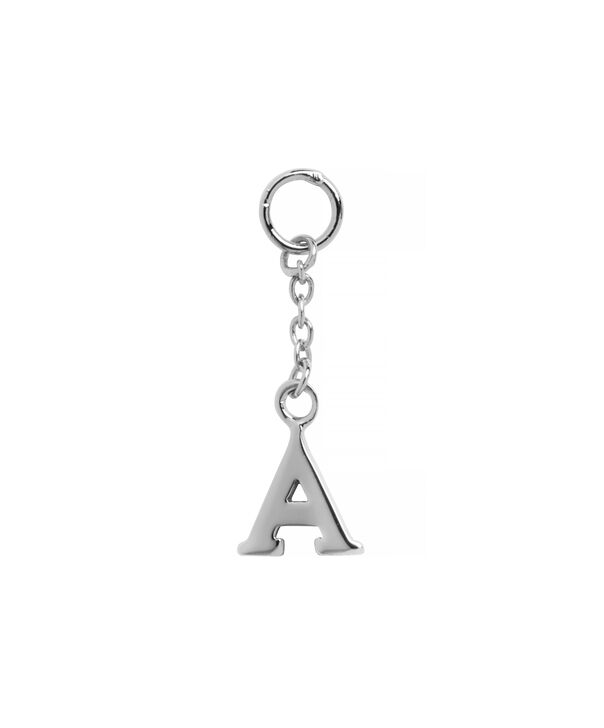 OLIVIA BURTON LONDON  A Alphabet Huggie Charm Silver OBJ16HCSA – Charms - Front view
