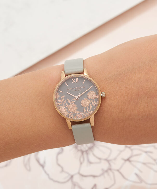 OLIVIA BURTON LONDON Lace Detail Grey & Rose Gold Watch OB16MV58 – Midi Dial Round in Grey - Other view