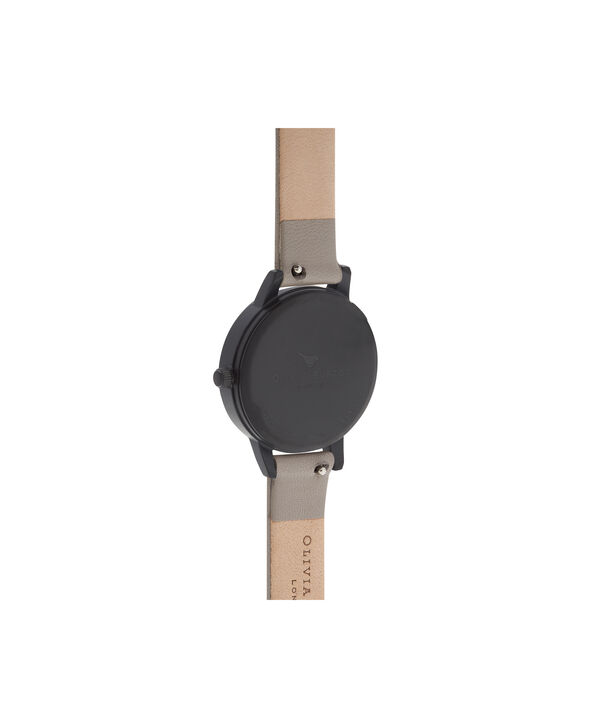 OLIVIA BURTON LONDON  After Dark Marble Floral Grey, IP Black & Rose Gold Watch OB16AD24 – Midi Round in Dark Floral and Grey - Back view
