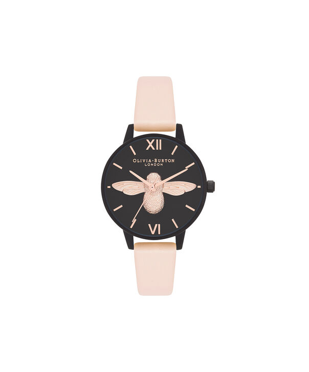 OLIVIA BURTON LONDON  After Dark 3D Bee Nude Peach & Matte Black OB16AD40 – Midi Dial Round in IP Black , Rose Gold and Nude - Front view