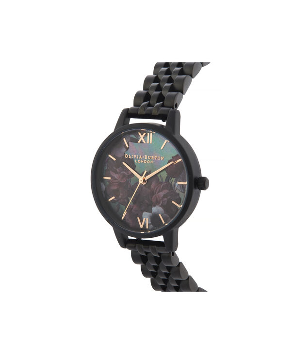 OLIVIA BURTON LONDON After Dark Midi Dial WatchOB16AD41 – Midi Dial in black and Black & Rose Gold - Side view