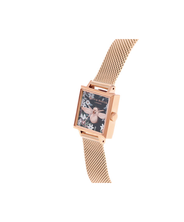 OLIVIA BURTON LONDON  Square Dial 3D Bee Rose Gold Mesh Watch OB16AM134 – Midi Square Navy and Rose Gold - Side view