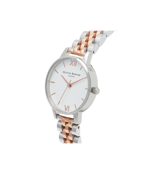 OLIVIA BURTON LONDON Midi Dial White Dial Rose Gold & Silver Bracelet WatchOB16MDW25 – Midi in White and Silver and Rose Gold - Side view