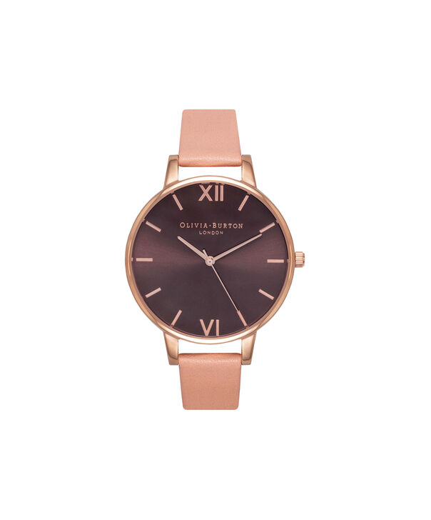 OLIVIA BURTON LONDON  Dusty Pink & Rose Gold Watch OB15BD72 – Big Dial in Chocolate and Burgundy - Front view