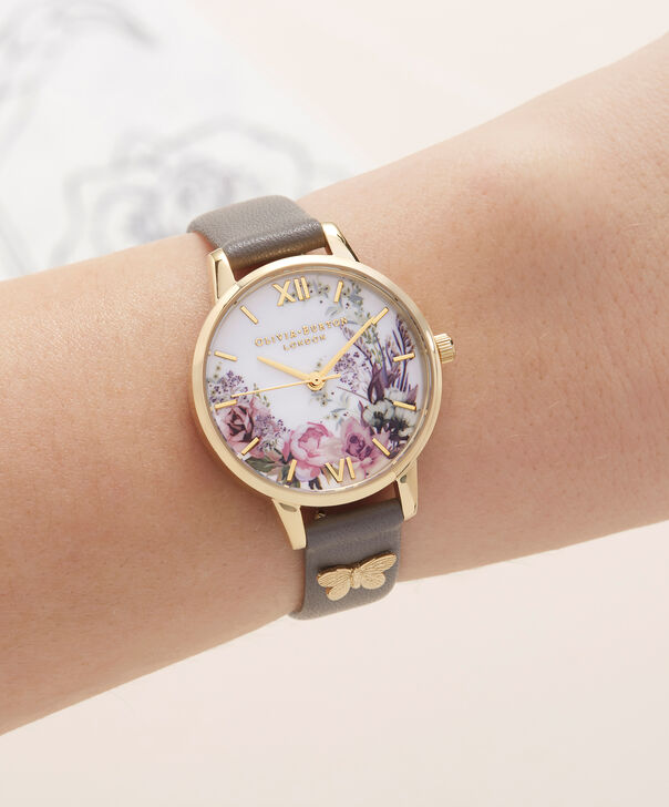 OLIVIA BURTON LONDON  Enchanted Garden London Grey & Gold OB16EG109 – Midi Dial Round in Gold and Grey - Other view