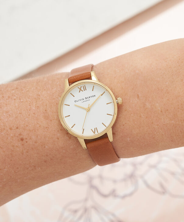 OLIVIA BURTON LONDON  White Dial Tan & Gold Watch OB16MDW09 – Midi Dial Round in White and Tan - Other view