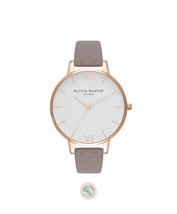 OLIVIA BURTON LONDON  Eco Friendly Lilac & Rose Gold Watch OB16VE09 – Big Dial in White and Grey Lilac - Front view