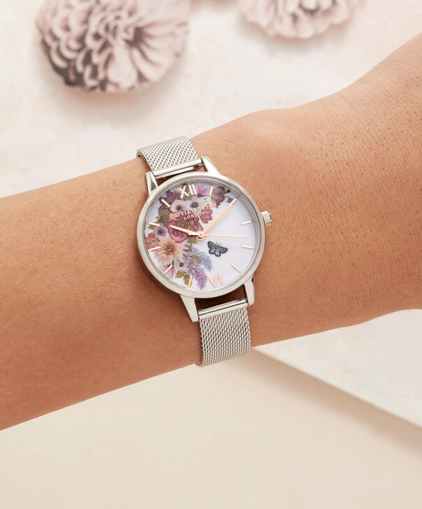 OLIVIA BURTON LONDON  Enchanted Garden Silver Mesh & Rose Gold OB16EG103 – Midi Dial Round in Silver - Other view