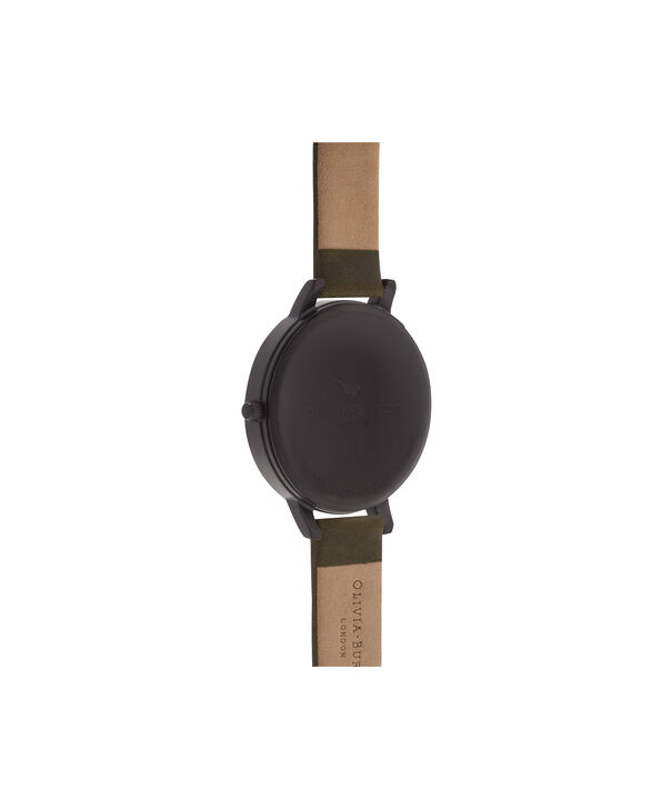 OLIVIA BURTON LONDON  After Dark Matte Black, Khaki & Rose Gold Watch OB16AD05 – Big Dial Round in Black and Khaki - Back view