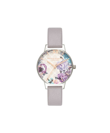 OLIVIA BURTON LONDON  Glasshouse Grey Lilac Rose Gold & Silver OB16EG104 – Big Dial Round in Silver and Grey - Front view