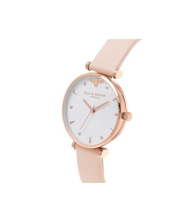 OLIVIA BURTON LONDON  T-Bar Nude Peach & Rose Gold Watch OB16AM95 – Midi Dial Round in White and Peach - Side view