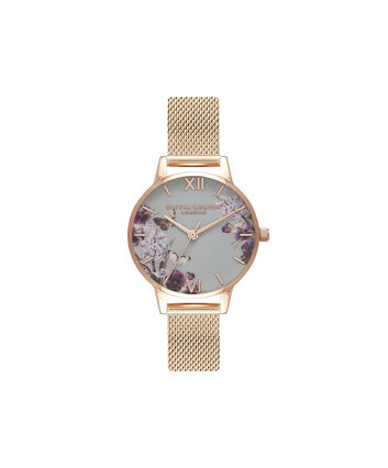 OLIVIA BURTON LONDON Blooms & Butterflies Grey Dial And Rose Gold MeshOB16EX108 – Midi Dial In Rose Gold And Rose Gold - Front view