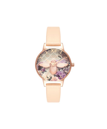 OLIVIA BURTON LONDON Enchanted GardenOB16EG89 – Big Dial Round in Floral and Rose Gold - Front view