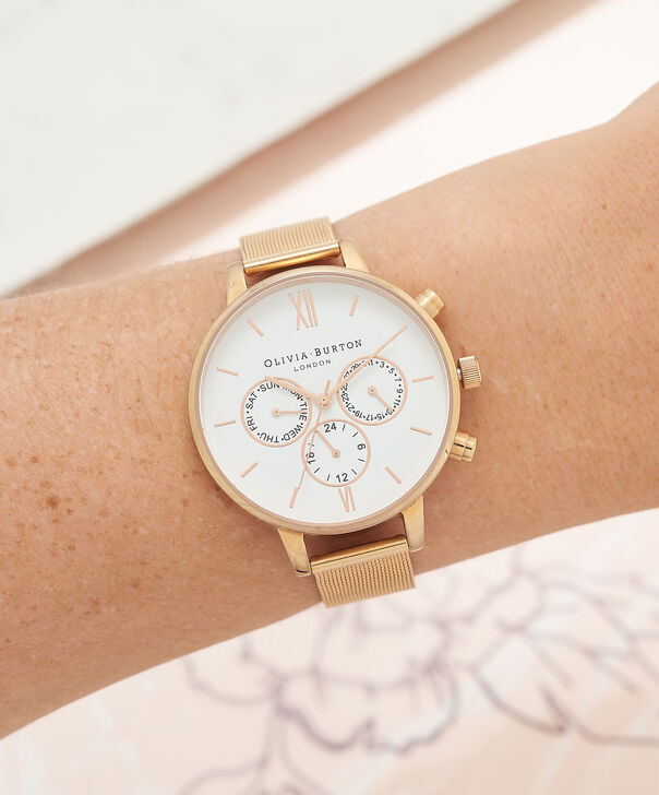 OLIVIA BURTON LONDON  Chrono Detail Rose Gold Watch OB16CG86 – Big Dial in White and Rose Gold - Other view