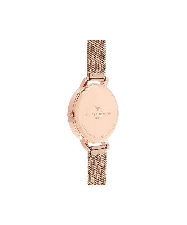OLIVIA BURTON LONDON  Signature Floral Rose Gold Mesh Watch OB16WG18 – Big Dial in White and Rose Gold - Back view
