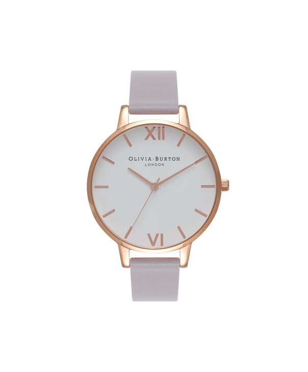 OLIVIA BURTON LONDON  White Dial Grey Lilac & Rose Gold Watch OB16BDW16 – Big Dial in White and Grey Lilac - Front view