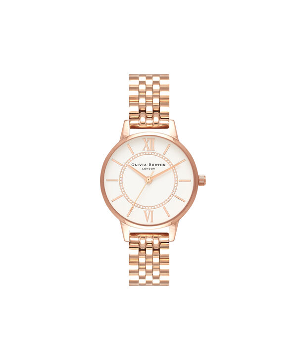 OLIVIA BURTON LONDON  Wonderland Bracelet, Rose Gold OB16WD70 – Midi Dial Round in Rose Gold - Front view