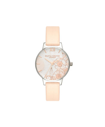 OLIVIA BURTON LONDON Abstract FloralsOB16VM27 – Midi Dial Round in Silver and Rose Gold - Front view