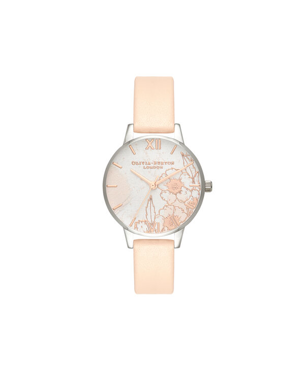OLIVIA BURTON LONDON  Abstract Florals Nude Peach, Rose Gold & Silver OB16VM27 – Midi Dial Round in Silver and Rose Gold - Front view
