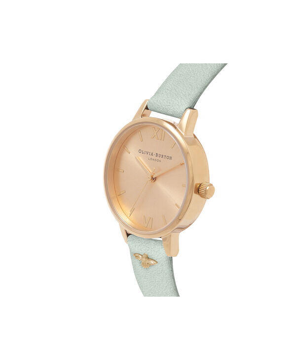 OLIVIA BURTON LONDON  Embellished Strap Sage & Gold OB16ES17 – Midi Dial Round in Gold - Side view