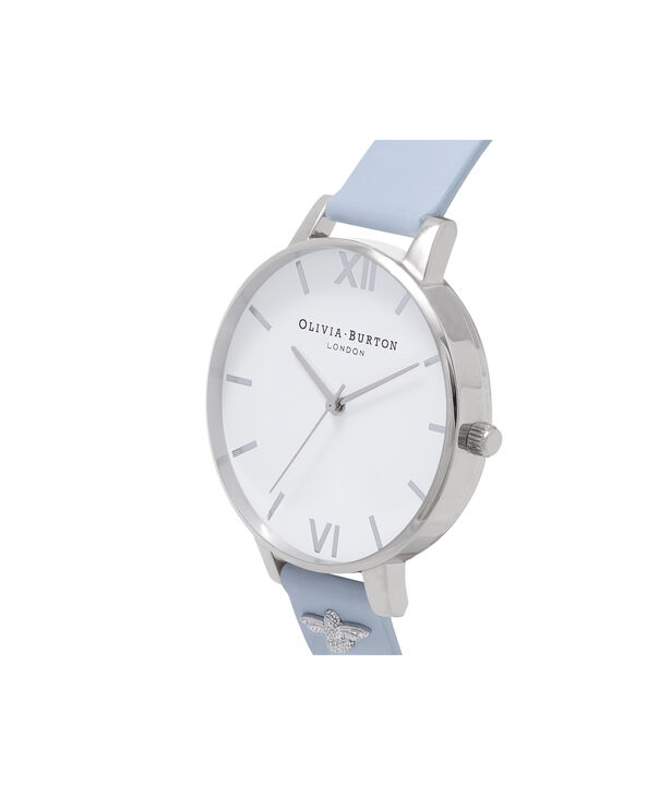 OLIVIA BURTON LONDON  3D Bee Embellished Strap Silver Watch OB16ES16 – Big Dial Round in White and Silver - Side view