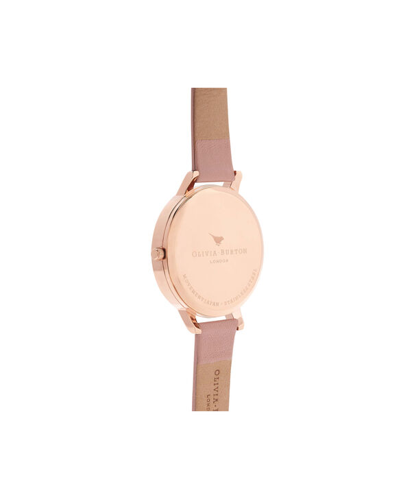 OLIVIA BURTON LONDON  Dusty Pink & Rose Gold Watch OB15BD72 – Big Dial in Chocolate and Burgundy - Back view