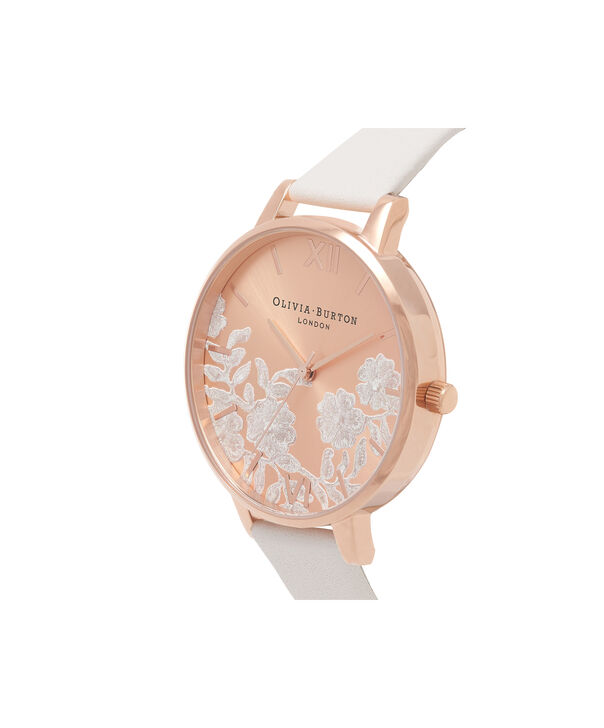 OLIVIA BURTON LONDON  Lace Detail Blush & Rose Gold Watch OB16MV53 – Big Dial Round in Rose Gold and Blush - Side view