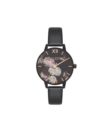 OLIVIA BURTON LONDON Vegan FriendlyOB16VE11 – Midi Dial Round in Floral and Black - Front view