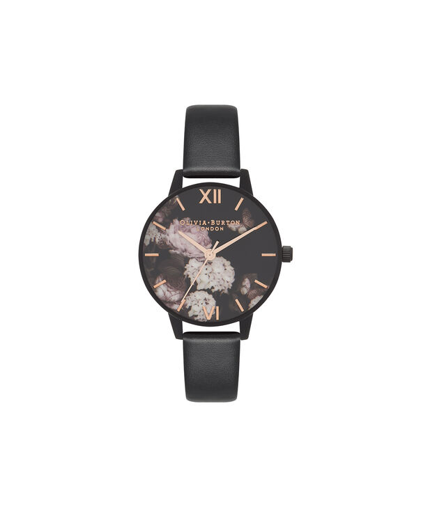 OLIVIA BURTON LONDON  Vegan Friendly Black & Ip Black Watch OB16VE11 – Midi Dial Round in Floral and Black - Front view