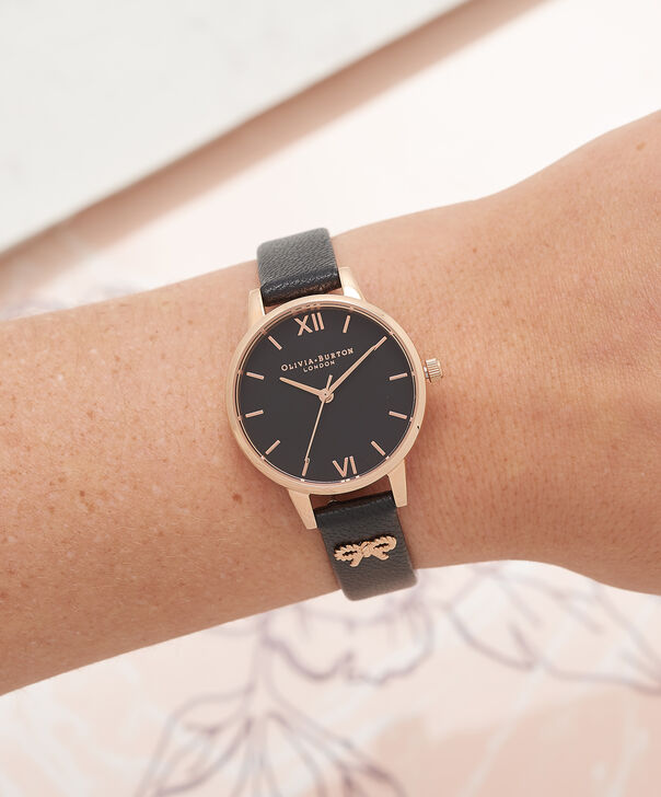 OLIVIA BURTON LONDON  Vintage Bow Black & Rose Gold Watch OB16VB07 – Midi Dial in Black and Rose Gold - Other view