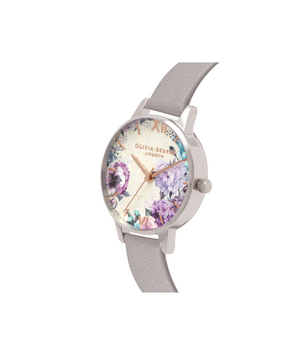 OLIVIA BURTON LONDON  Glasshouse Grey Lilac Rose Gold & Silver OB16EG104 – Big Dial Round in Silver and Grey - Side view
