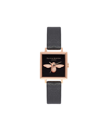 OLIVIA BURTON LONDON 3D BeeOB16AM128 – Midi Dial Square in Black - Front view