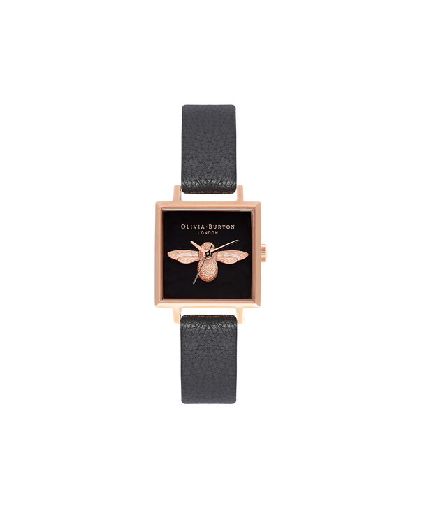 OLIVIA BURTON LONDON  3D Bee Square Dial Black & Rose Gold Watch OB16AM128 – Midi Dial Square in Black - Front view