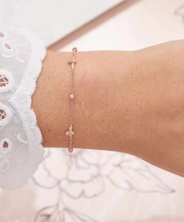 OLIVIA BURTON LONDON  3D Bee & Ball Chain Bracelet Rose Gold OBJ16AMB19 – 3D Bee Chain Bracelet - Other view