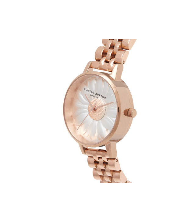 OLIVIA BURTON LONDON  3D Daisy Rose Gold Bracelet OB16FS102 – Midi Dial Round in Rose Gold - Side view
