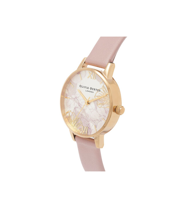 OLIVIA BURTON LONDON  Abstract Florals Vegan Rose Sand & Gold OB16VM31 – Midi Dial Round in Gold and Pink - Side view