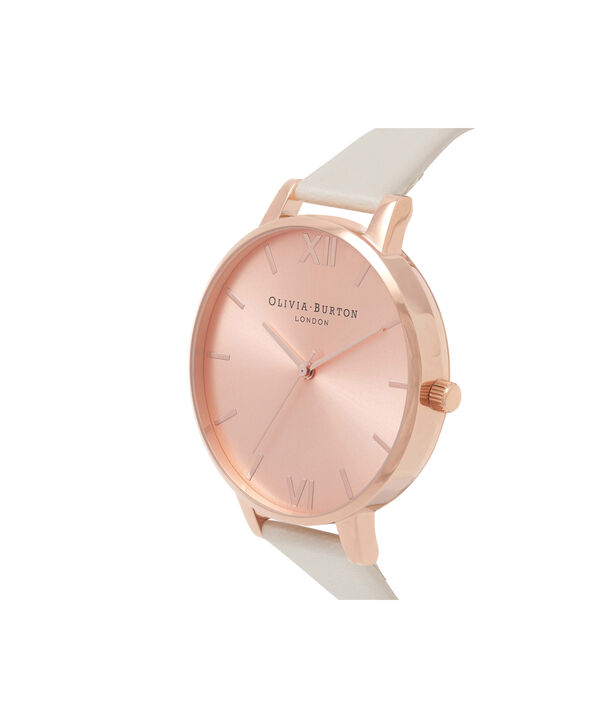 OLIVIA BURTON LONDON  Vegan Friendly Nude & Rose Gold Watch OB16BDV01 – Big Dial Round in Rose Gold and Nude - Side view