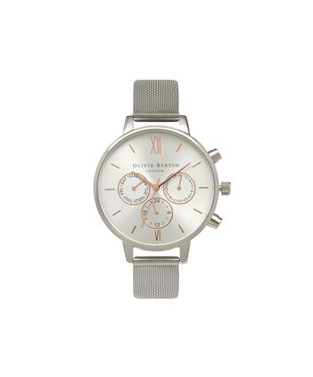 OLIVIA BURTON LONDON  Chrono Detail Rose Gold & Silver Mesh Watch OB15CG80 – Big Dial Round in White and Silver - Front view