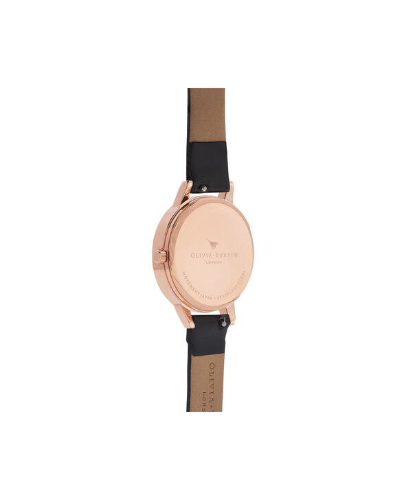 OLIVIA BURTON LONDON  Vegan Friendly Black & Rose Gold Watch OB16VE10 – Midi Dial Round in Black - Back view