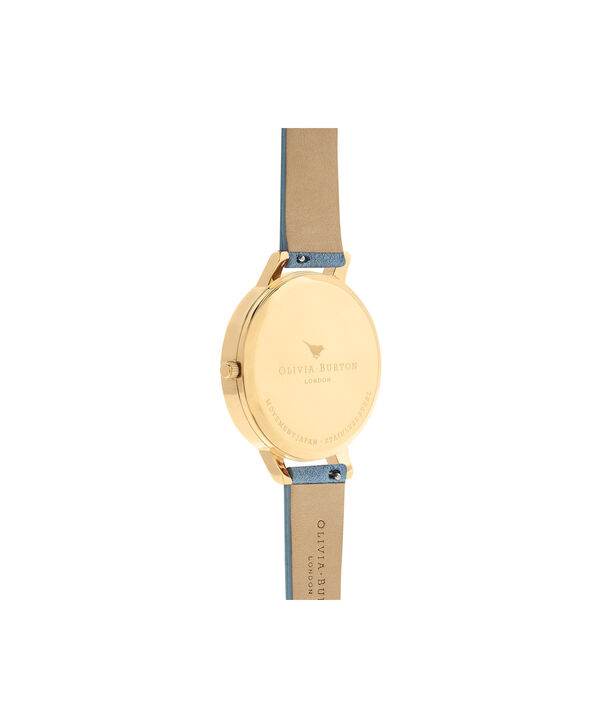 OLIVIA BURTON LONDON  Sunray Dial Chalk Blue Suede & Gold OB16BD111 – Big Dial Round in Gold and Chalk Blue - Back view