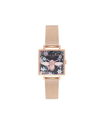 OLIVIA BURTON LONDON  Square Dial 3D Bee Rose Gold Mesh Watch OB16AM134 – Midi Square Navy and Rose Gold - Front view