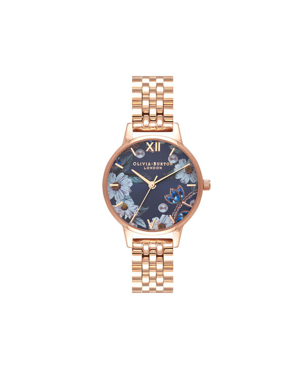OLIVIA BURTON LONDON  Bejewelled Florals Navy Sunray & Rose Gold Bracelet OB16BF17 – Midi Dial Round in Rose Gold - Front view