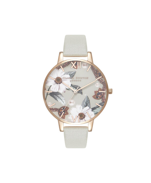 OLIVIA BURTON LONDON Bejewelled Floral Grey And Rose GoldOB16EX106 – Big Dial In Grey And Rose Gold - Front view