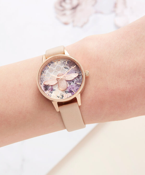 OLIVIA BURTON LONDON  Glasshouse Nude Peach & Rose Gold OB16EG98 – Midi Dial Round in Nude and Rose Gold - Other view