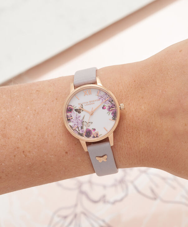 OLIVIA BURTON LONDON  Enchanted Garden Grey Lilac & Rose Gold Watch OB16ES05 – Midi Dial Round in Rose Gold and Grey Lilac - Other view
