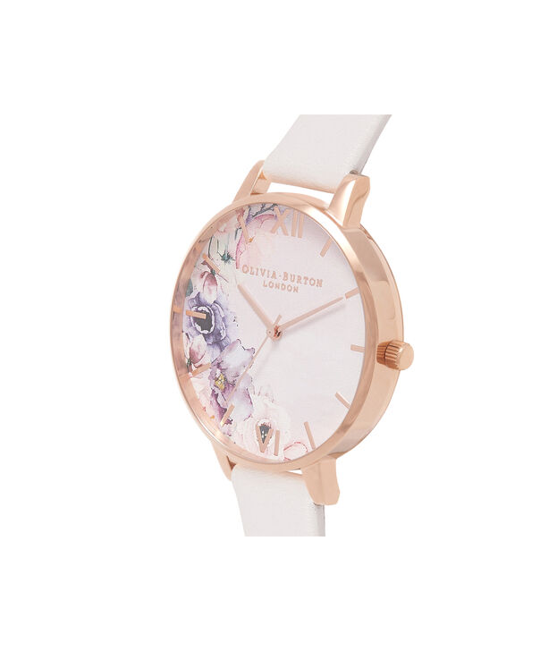 OLIVIA BURTON LONDON  Watercolour Florals Blush & Rose Gold Watch OB16PP31 – Big Dial Round in Floral and Blush - Side view