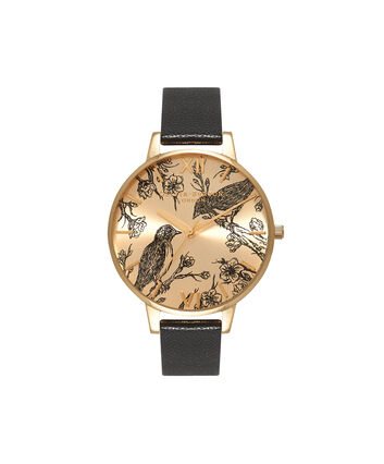 OLIVIA BURTON LONDON  Sunray Black & Gold Watch OB15AM75 – Big Dial Round in Black and Gold - Front view